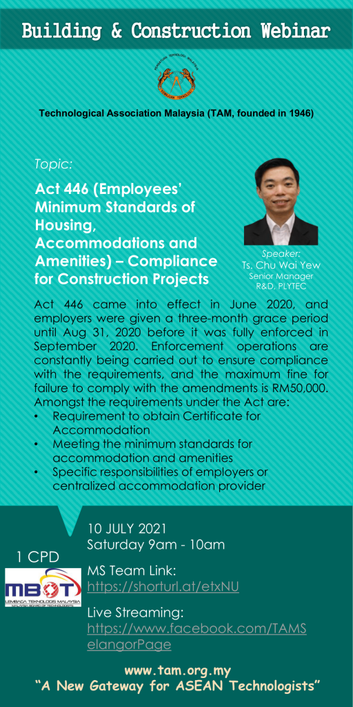 TAM Building and Construction Webinar 2021 Act 446