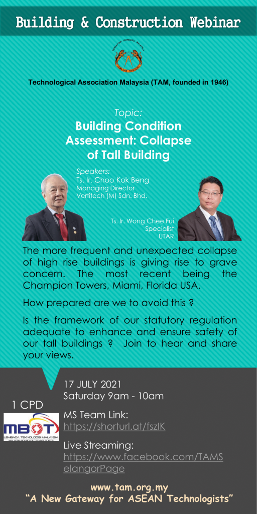 TAM Building and Construction Webinar 2021 Building Condition Assessment: Collapse of Tall Building