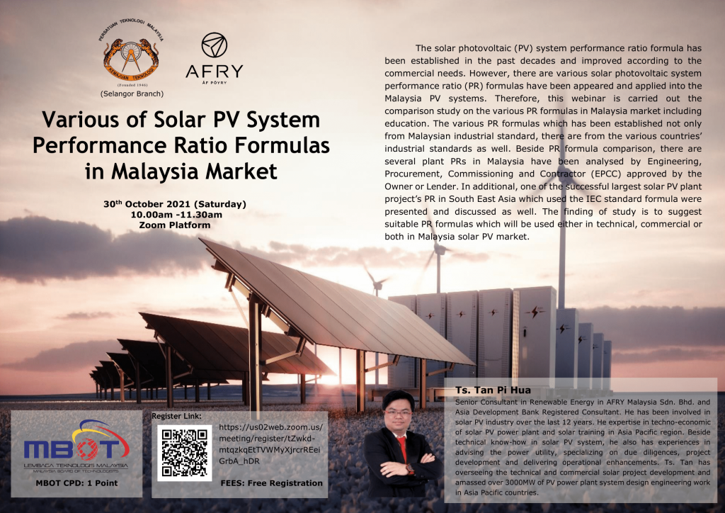 Various of Solar PV Systems Performance Ratio Formulas in Malaysia Market