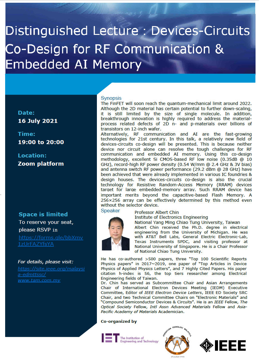 Devices-Circuits Co-Design for RF Communication & Embedded AI Memory